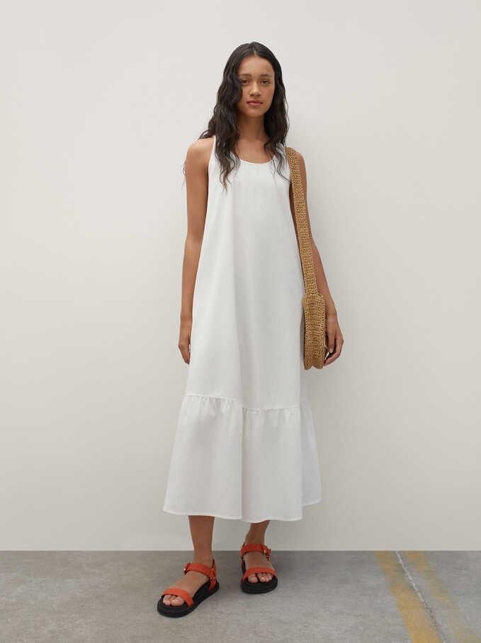 100% Cotton Long Dress, White, hi-res
