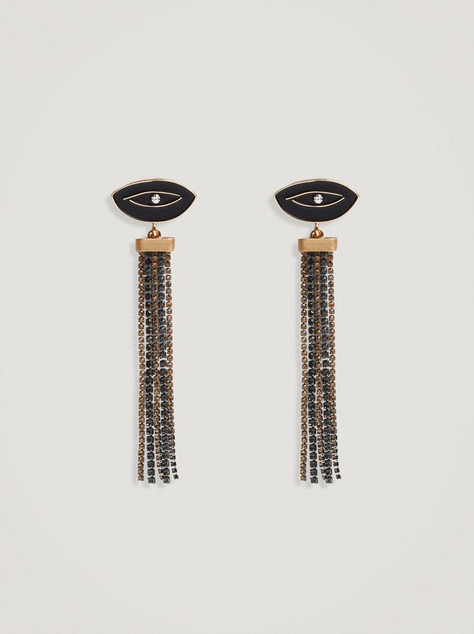 Boucles D'Oreilles Longues Avec Oeil, Noir, hi-res