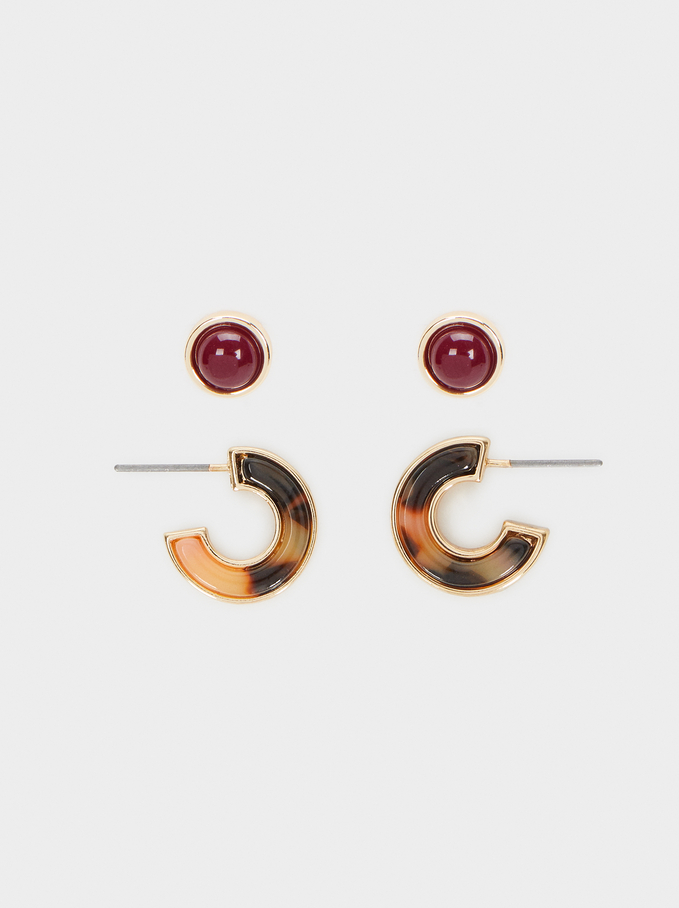 Multicoloured Hoop Earrings Set, Multicolor, hi-res