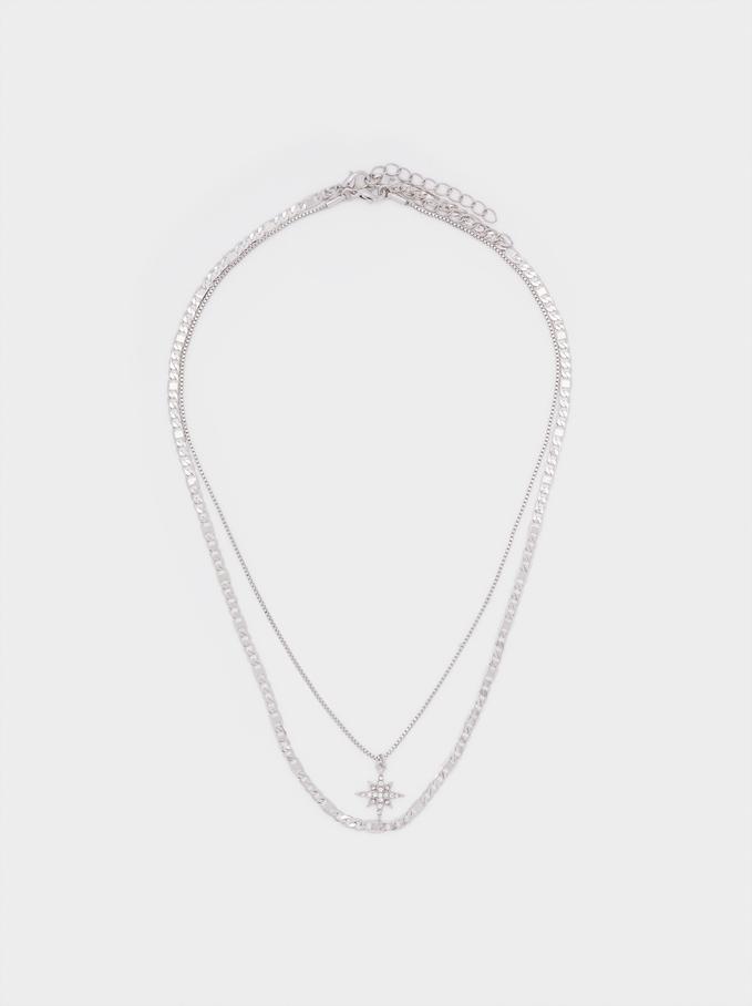Conjunto De Collares Combinados Con Estrella Y Cristales, Plateado, hi-res