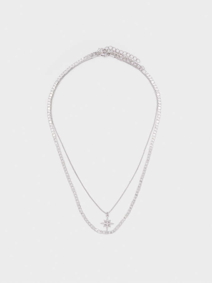 Set Of Contrasting Necklaces With Star And Crystals, Silver, hi-res