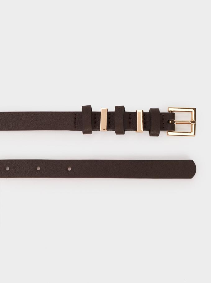 Cintura Con Fibbie A Contrasto, Marrone, hi-res