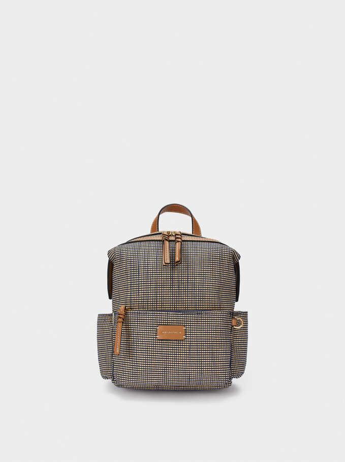 Raffia Textured Backpack, Navy, hi-res