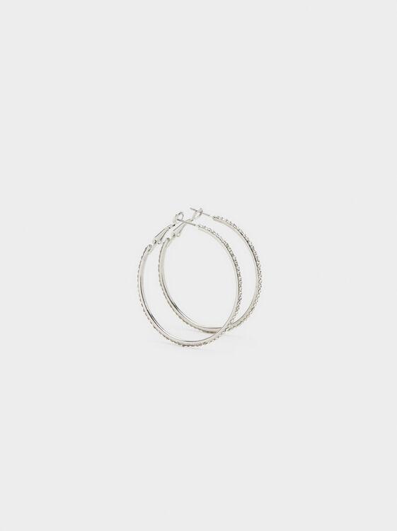 Large Hoop Earrings With Rhinestones, Silver, hi-res