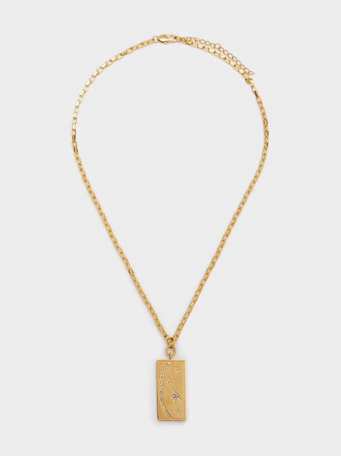 Short Steel Necklace With Stars, Golden, hi-res