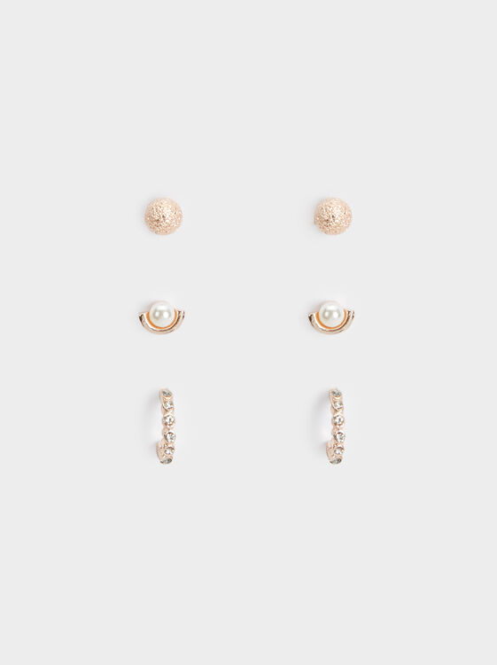 Set Of Pink Desert Earrings, Orange, hi-res