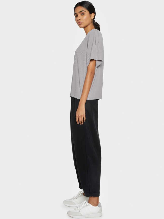 Basic Ribbed T-Shirt, Grey, hi-res