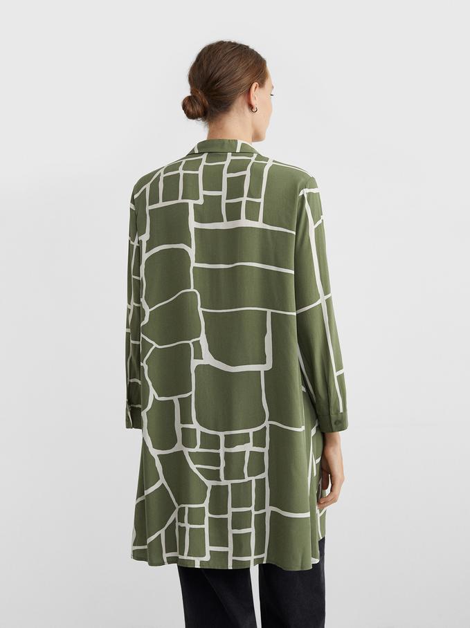 Robe Chemise Imprimée, Kaki, hi-res