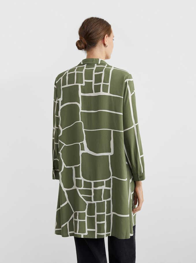 Printed Shirt Dress, Khaki, hi-res