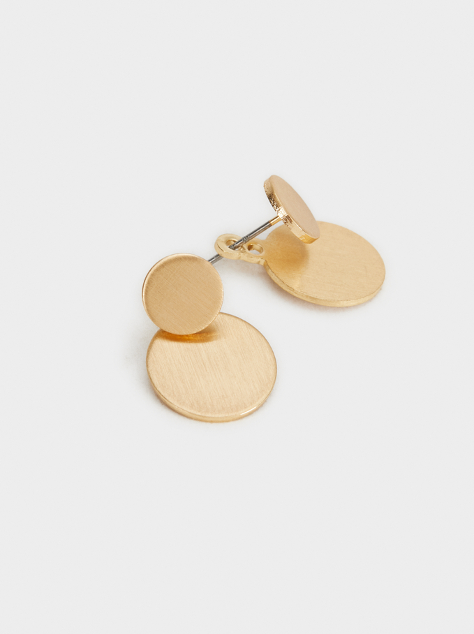 Short Geometric Earrings, Golden, hi-res