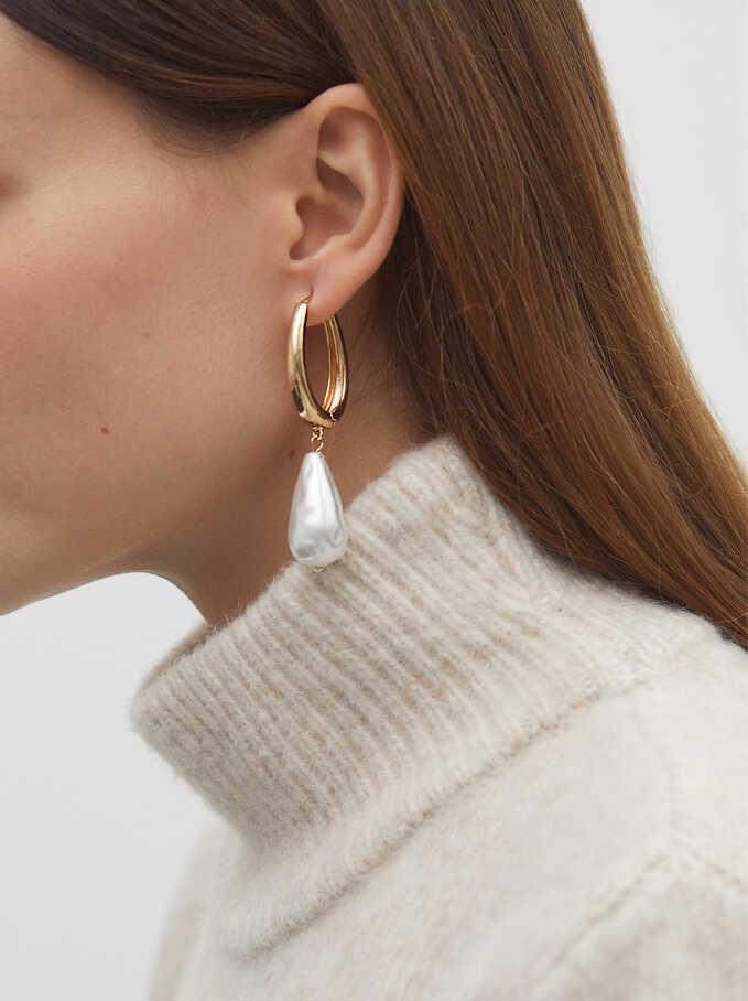Long Gold Metal Earrings, Golden, hi-res