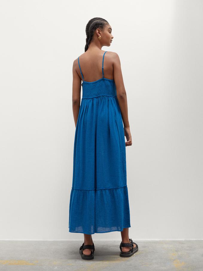 Vestido Largo De Lino, Azul, hi-res