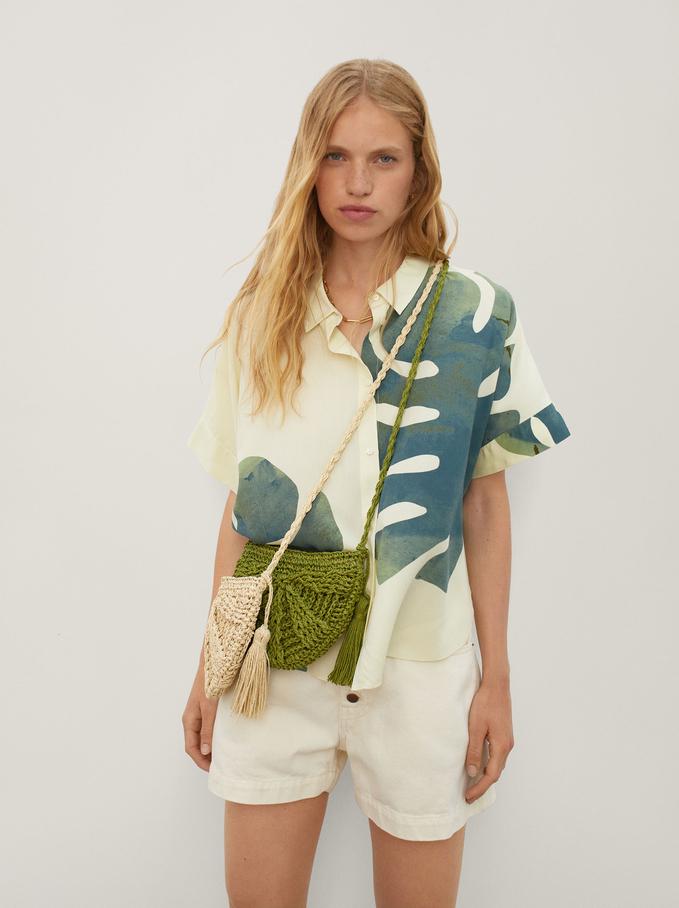 Oversized Leaf Print Shirt, Ecru, hi-res