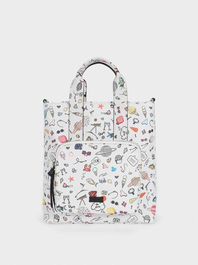 Multi-Coloured Printed Backpack, Black, hi-res