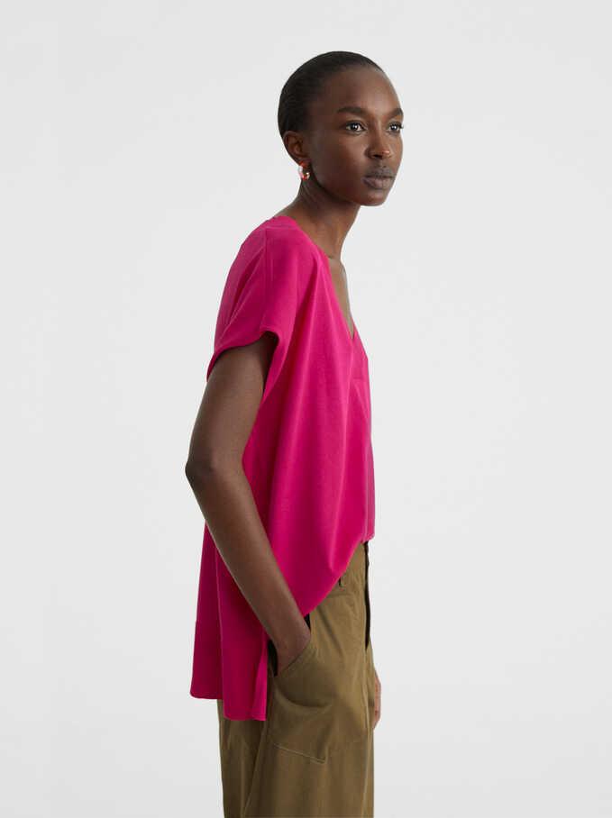 V-Neck Sweater, Pink, hi-res