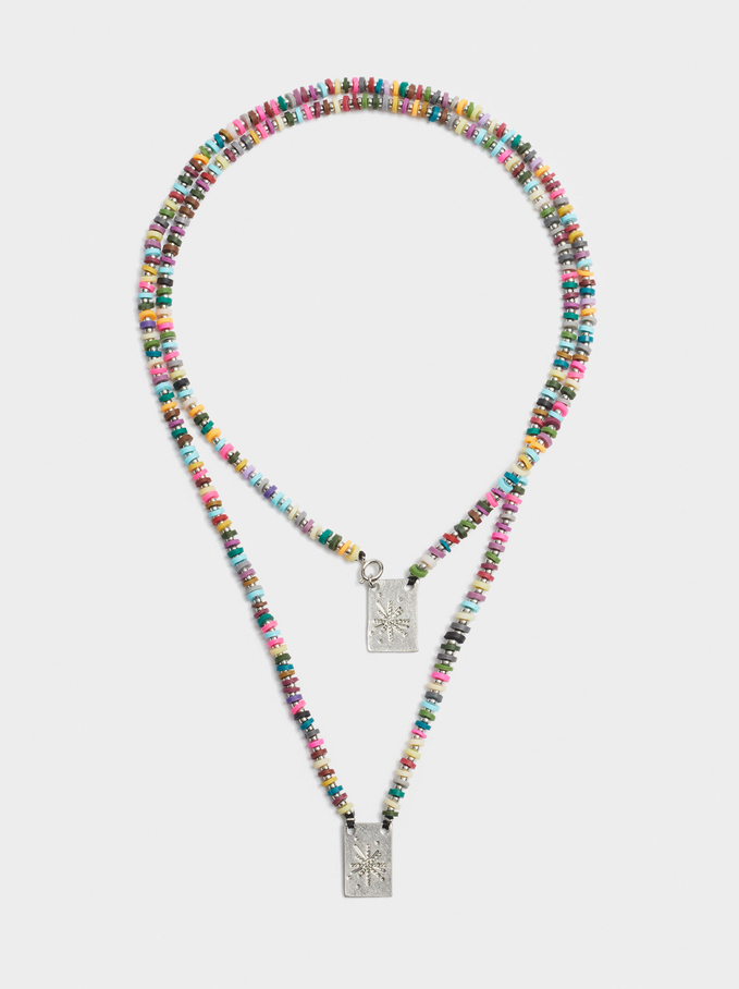 Halskette Mit Charm Und Strass, Mehrfarbig, hi-res