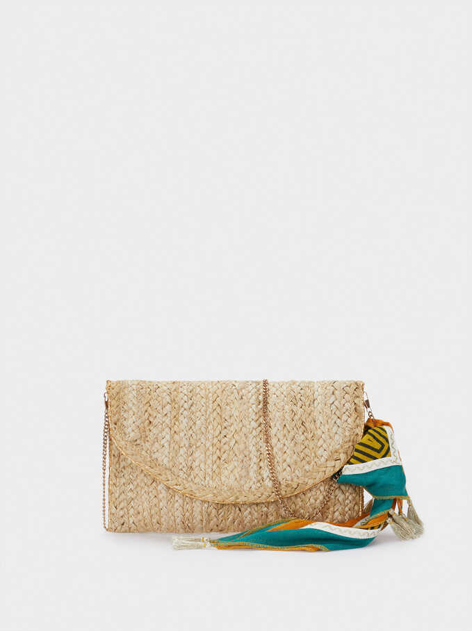 Raffia Textured Envelope Party Bag, Ecru, hi-res
