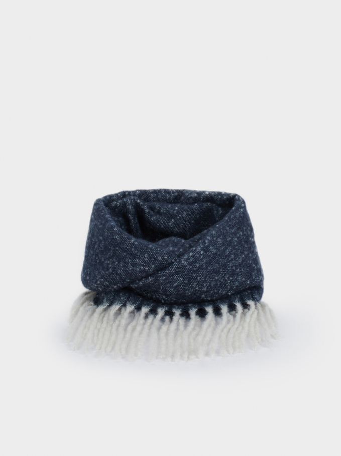 Snood With Fringe Detail, Blue, hi-res