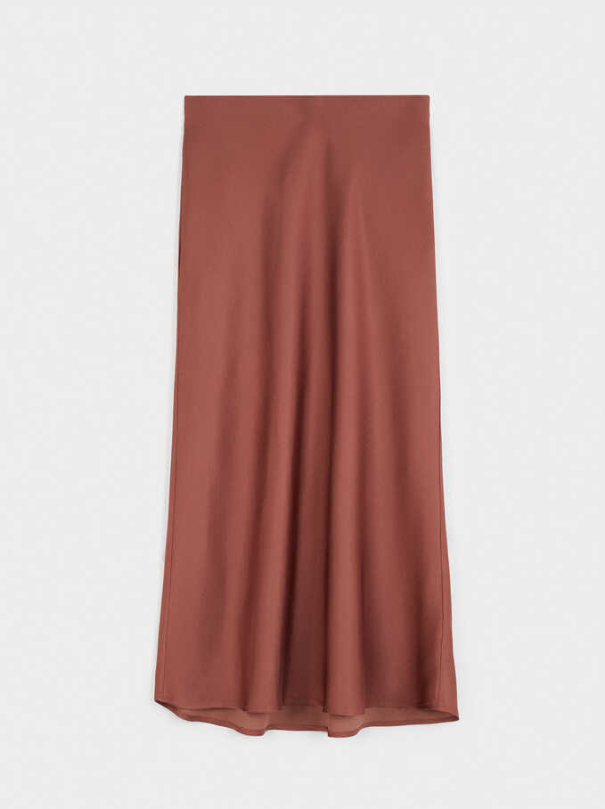 Limited Edition Long Skirt With Elastic Waistband, Brick Red, hi-res