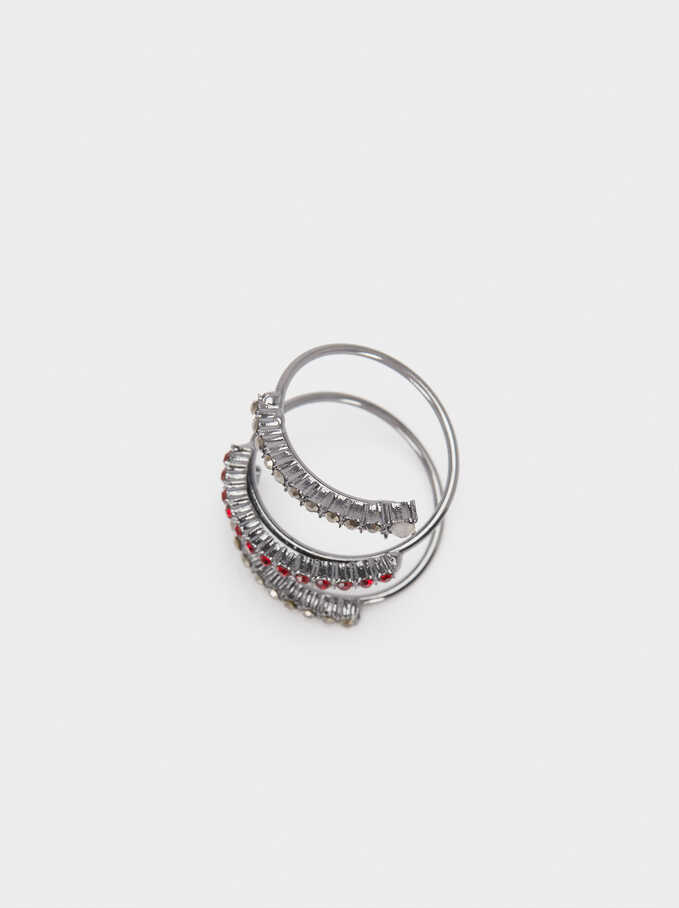 Spiral Ring With Crystals, Multicolor, hi-res