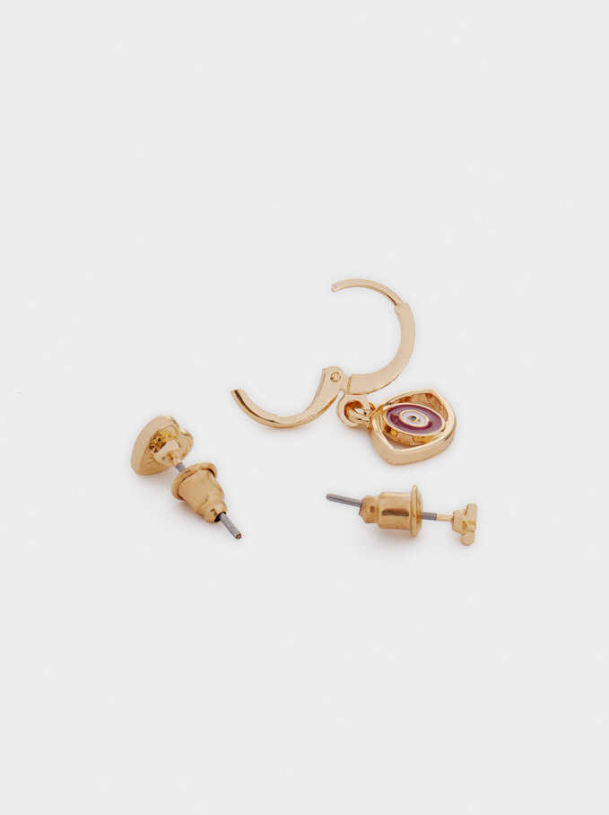 Set Of Earrings With Charms, Golden, hi-res