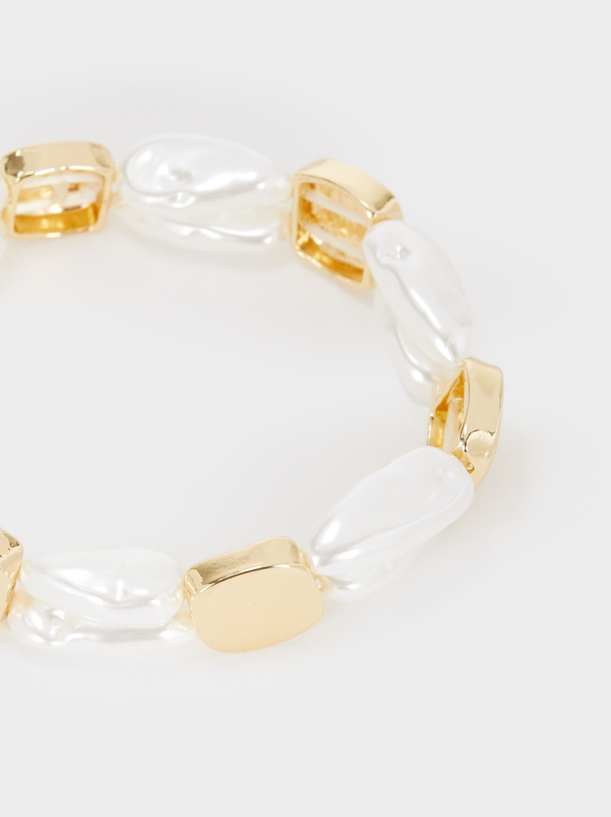 Elasticated Bead Bracelet, Golden, hi-res