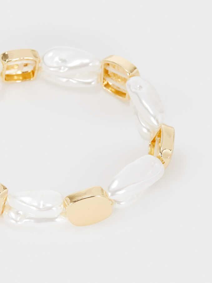 Elasticated Bead Bracelet, Golden, hi-res