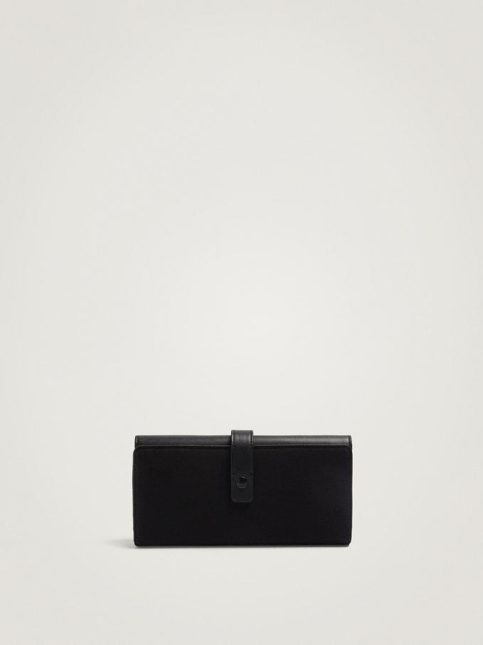Long Faux Suede Wallet, Black, hi-res