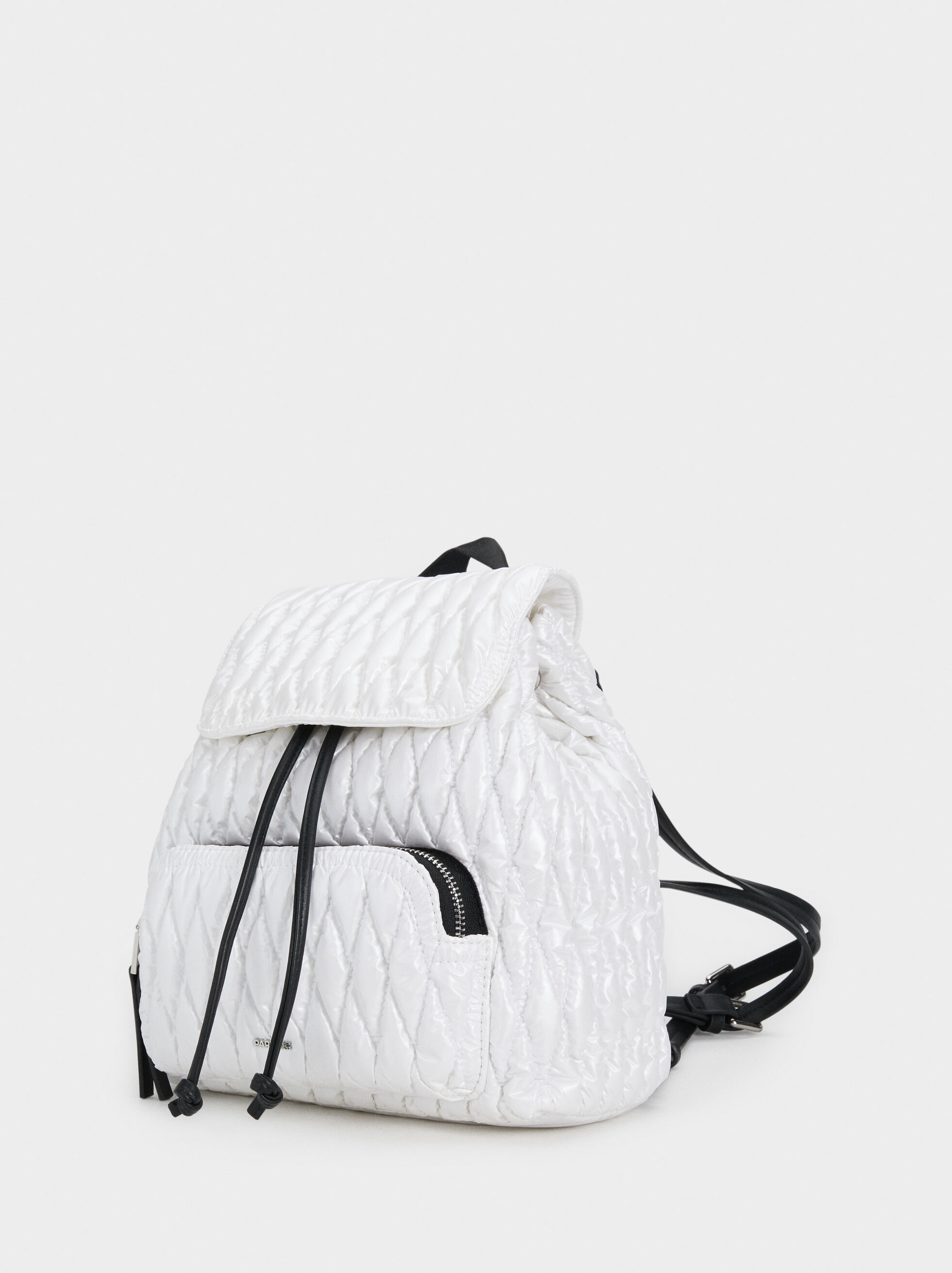Quilted Nylon Backpack, White, hi-res