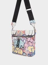 Shoulder Bag With Outer Pockets, Blue, hi-res