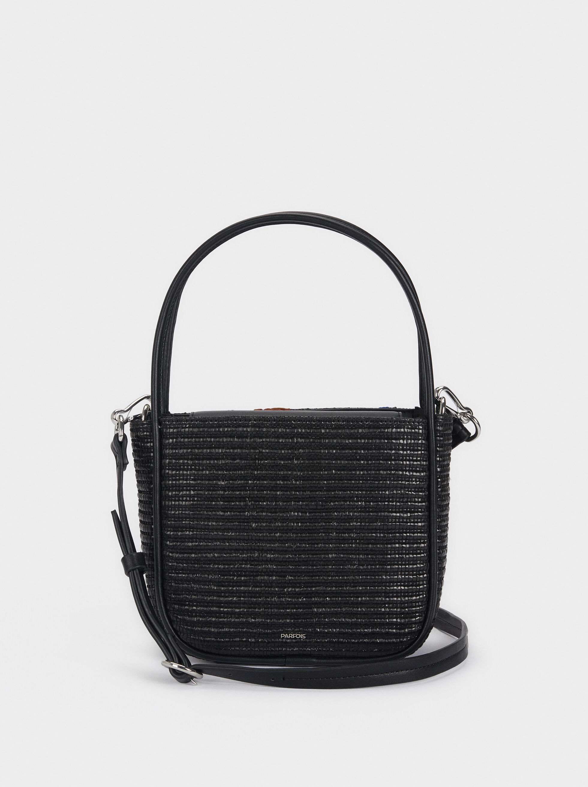 Raffia Crossbody Bag With Detachable Handle, Black, hi-res