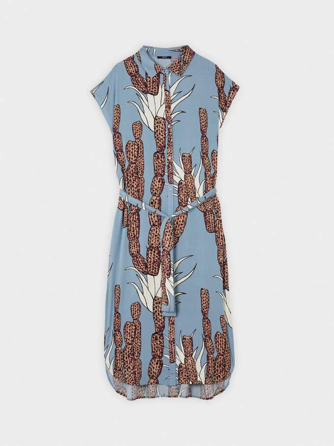 Printed Dress With Belt, Blue, hi-res