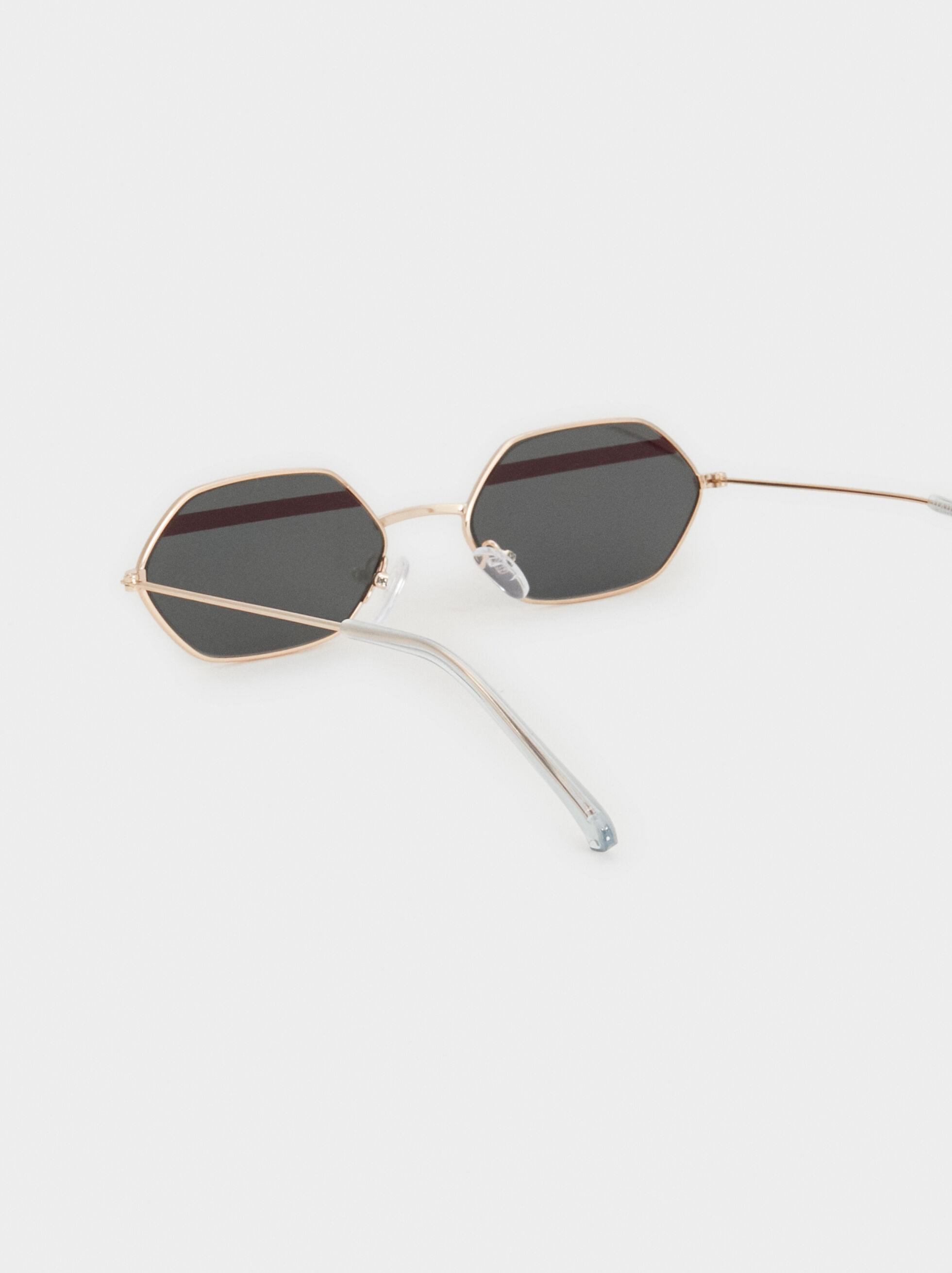 Tortoiseshell Geometric Sunglasses, Golden, hi-res