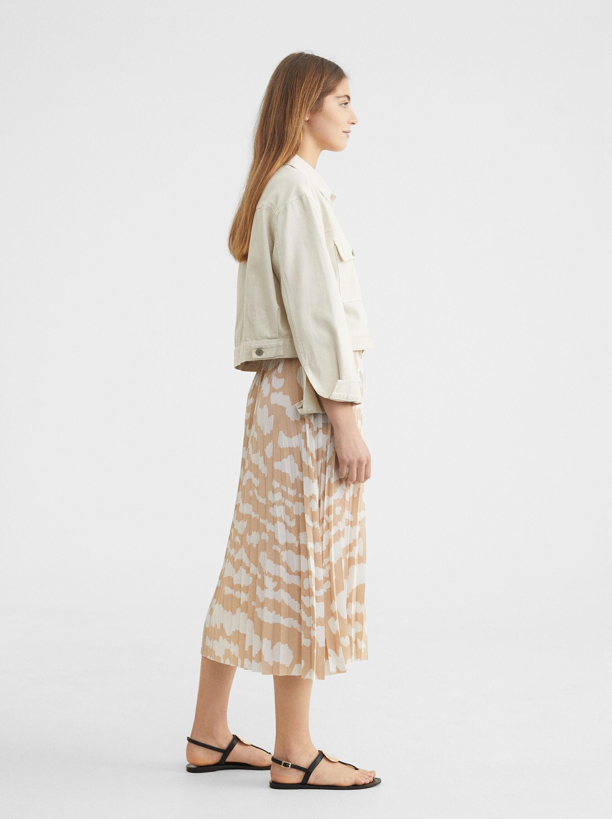 Pleated Skirt With An Elastic Waistband, Beige, hi-res