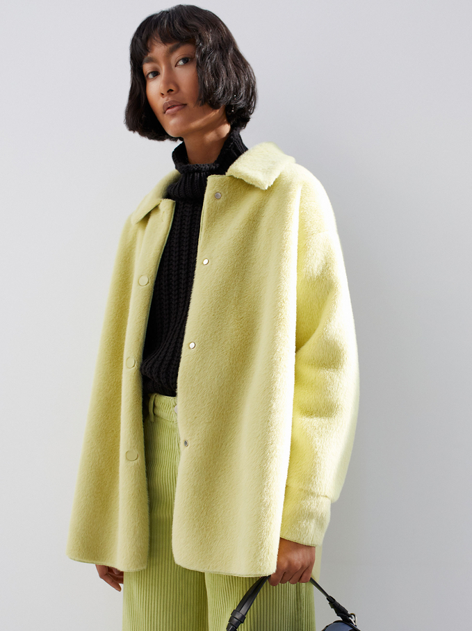 Fur Coat With Pockets And Button Closure, Yellow, hi-res