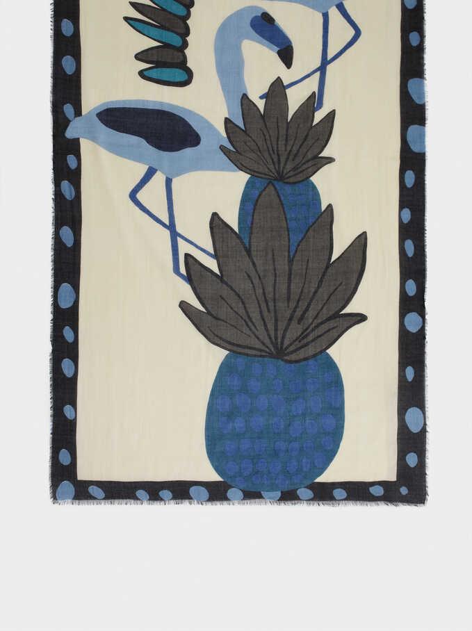 Pañuelo De Modal Estampado Piña Y Flamencos, Azul, hi-res