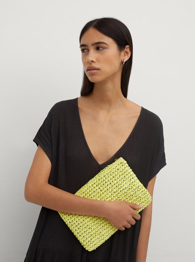 Braided Handbag, Yellow, hi-res