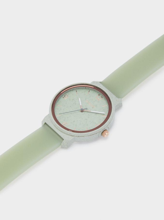 Reloj Con Correa De Silicona, Verde, hi-res