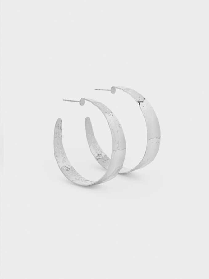 Medium Silver-Plated Hoop Earrings, Silver, hi-res