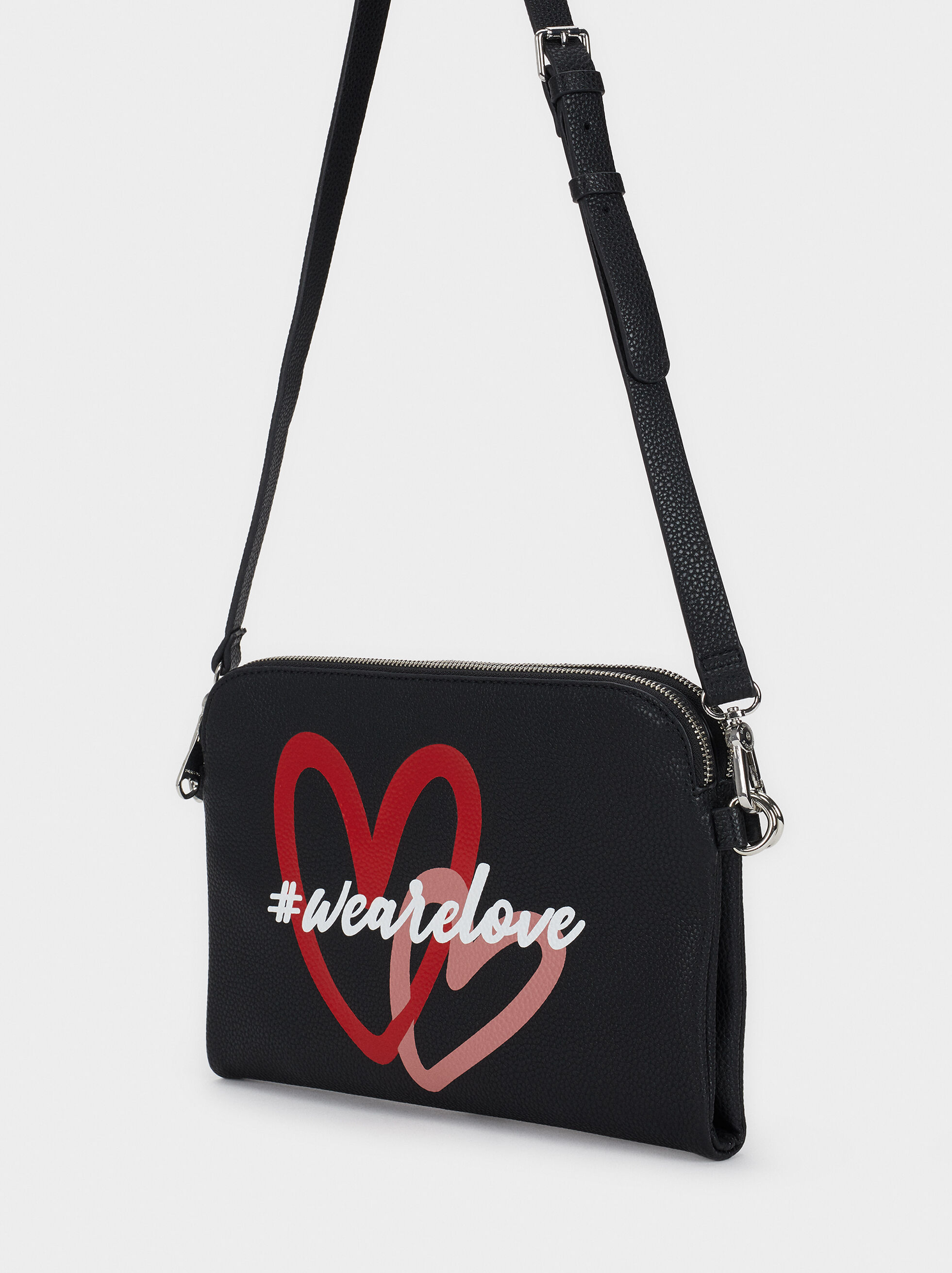 We Are Love Print Shoulder Bag, Black, hi-res