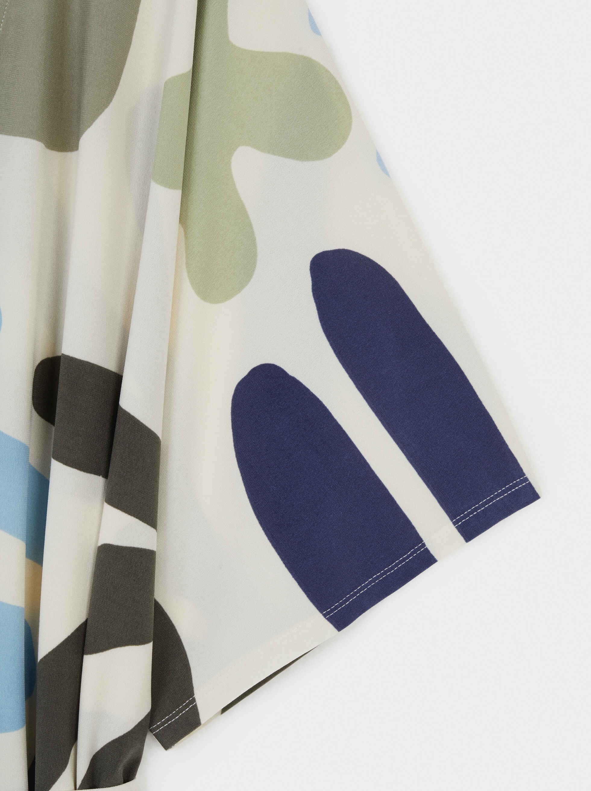 Kimono Estampado Fluido, Blanco, hi-res