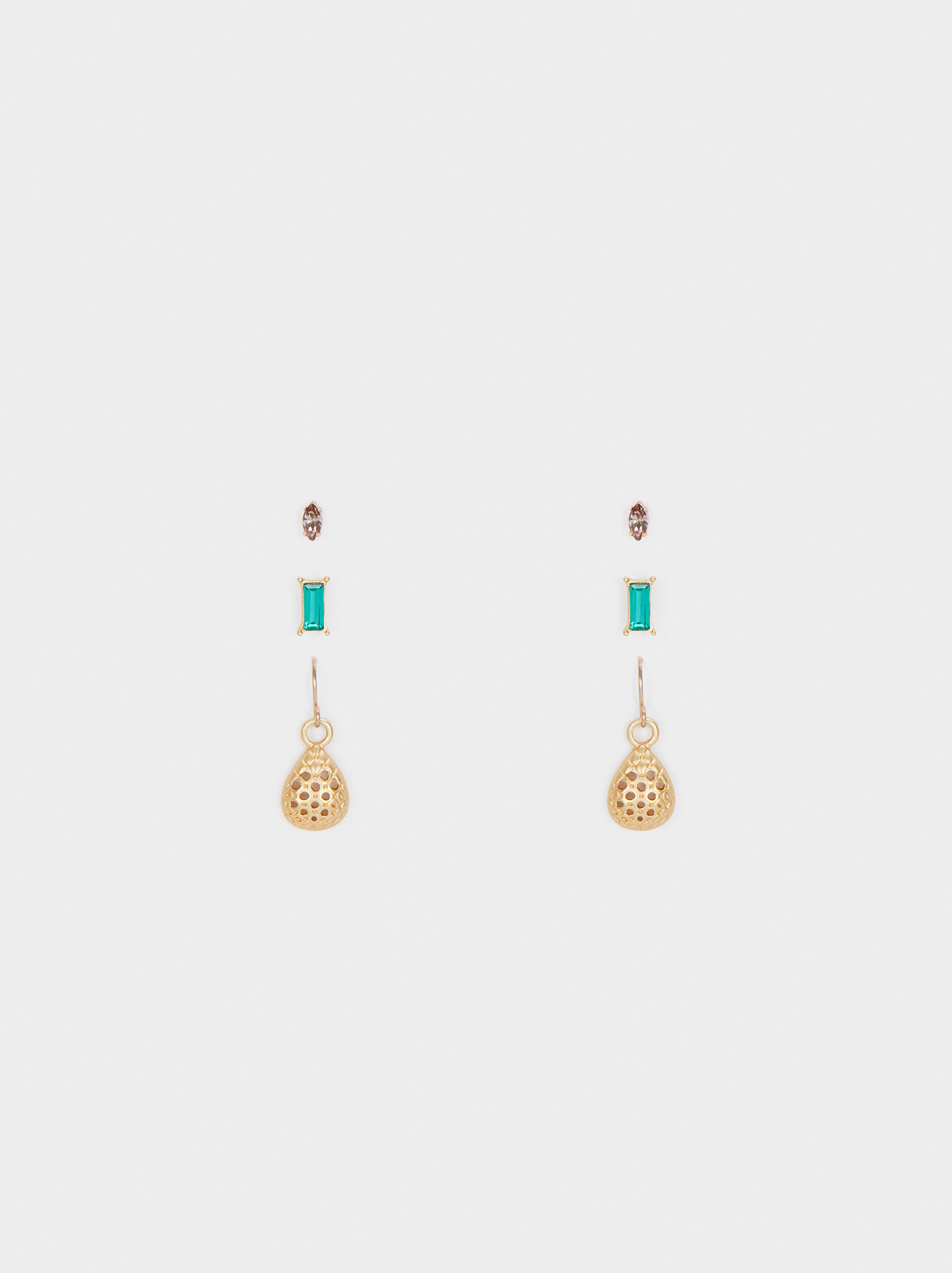 Set Of Multicoloured Earrings With Crystals, Multicolor, hi-res