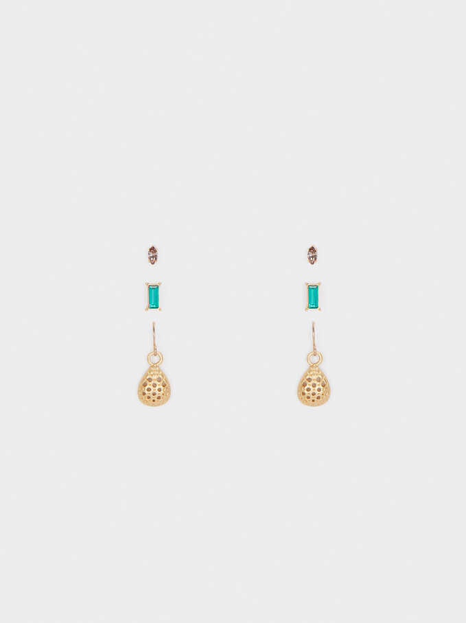 Set Of Earrings With Crystals, Multicolor, hi-res