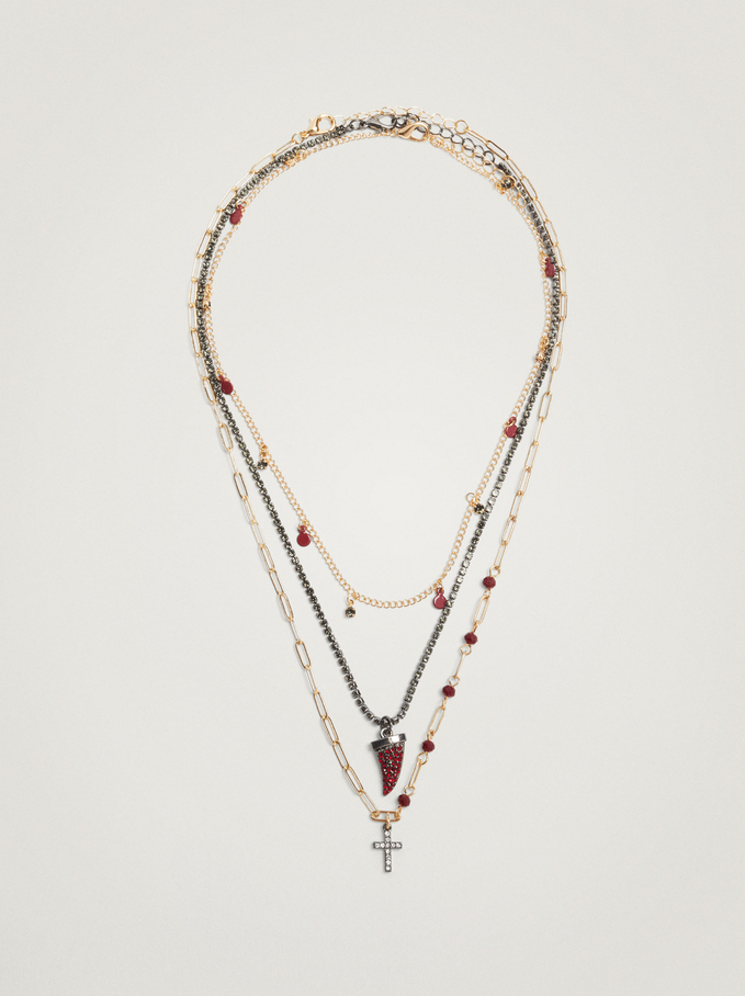 Set Of Necklaces With Charms And Crystals, Bordeaux, hi-res
