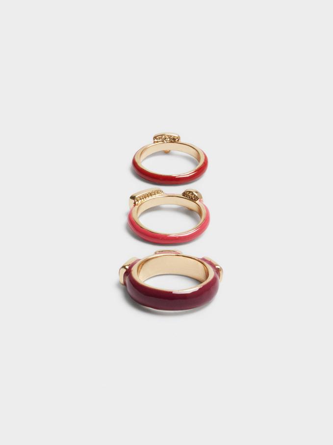 Set Of Enamel And Resin Rings, Multicolor, hi-res