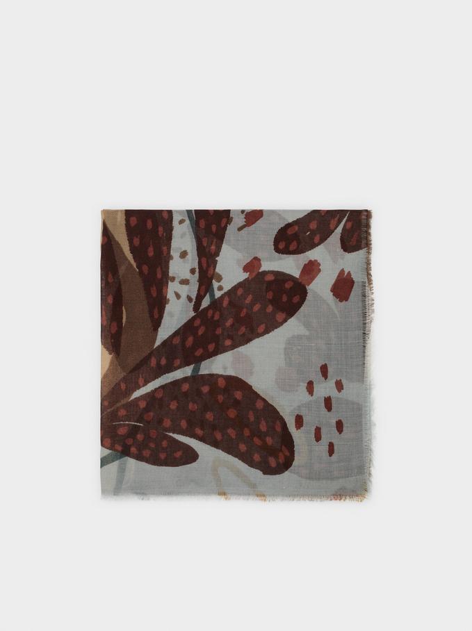 Floral Print Scarf, Beige, hi-res