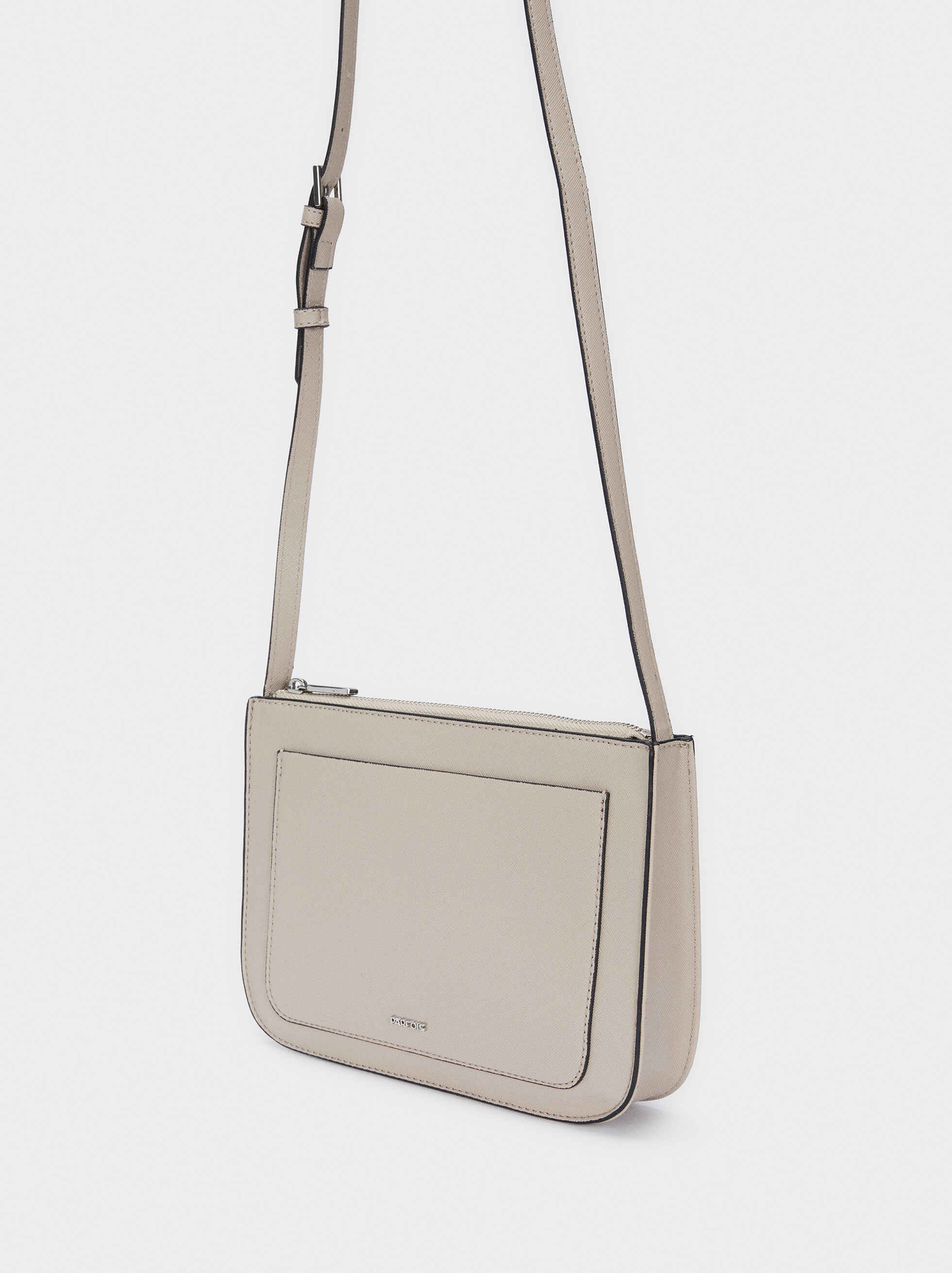 Crossbody Bag With Outer Pocket, Grey, hi-res
