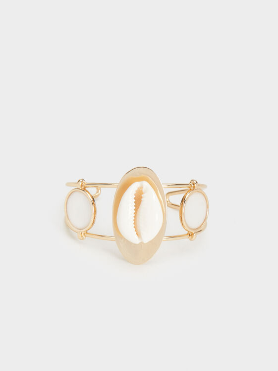 Rigid Seashell Bracelet, Golden, hi-res