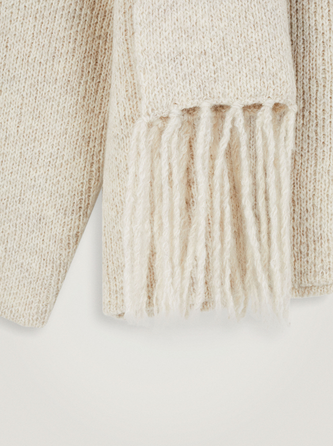 Round-Neck Knit Sweater With Scarf, Ecru, hi-res