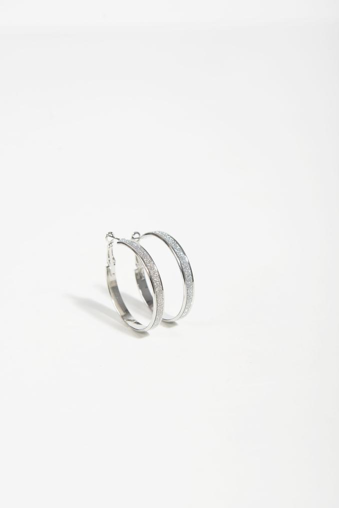 Hoop Earrings With Rhinestones, Silver, hi-res